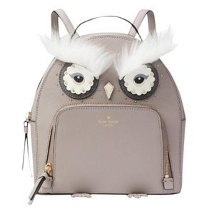 Star Bright Owl Tomi Grey Leather Backpack